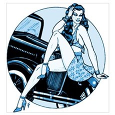 RH Blue Car Pinup Poster
