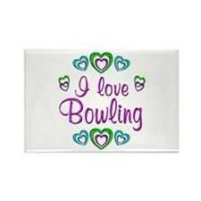 I Love Bowling Rectangle Magnet (10 pack)
