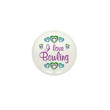 I Love Bowling Mini Button (10 pack)