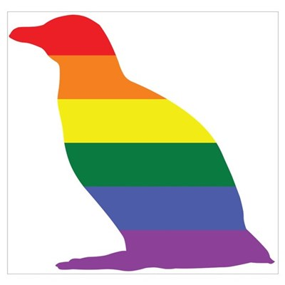 Gay Penguin Rainbow Poster