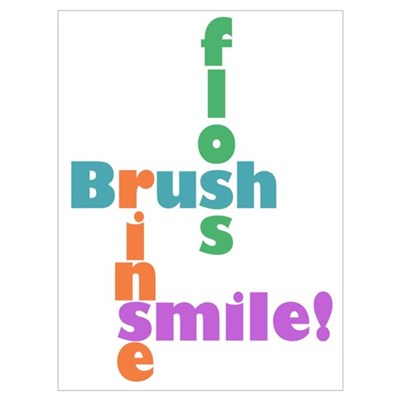 Brush Floss Rinse Smile Canvas Art