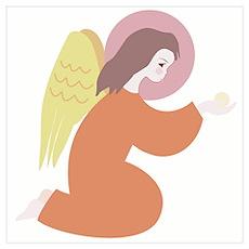 Angel, in orange robe, kneeling Poster