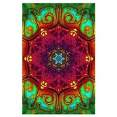Psychedelic Excursion Mandala Art (Large) Poster