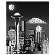 Night Seattle Skyline w/ Space Needle(B&amp Framed Print