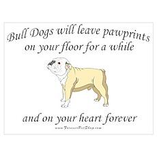 Bull Dog Pawprints Poster