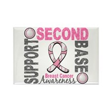 Second 2nd Base Breast Cancer Rectangle Magnet