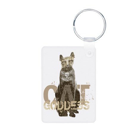 Egyptian Cat Goddess Aluminum Photo Keychain