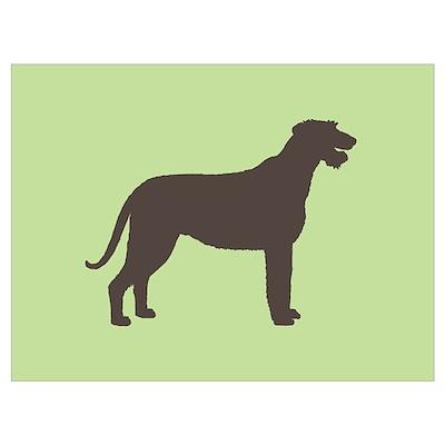 Green/Brown Irish Wolfhound Poster