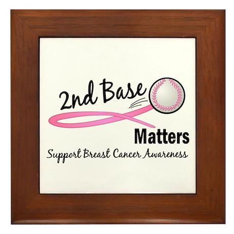 Second 2nd Base Breast Cancer Framed Tile