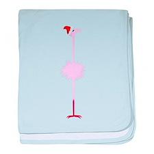 Pink Christmas Flamingo 2 baby blanket