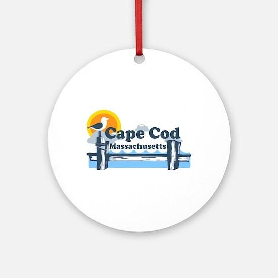 Cape Cod MA - Pier Design Ornament (Round)