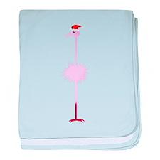 Pink Christmas Flamingo 3 baby blanket