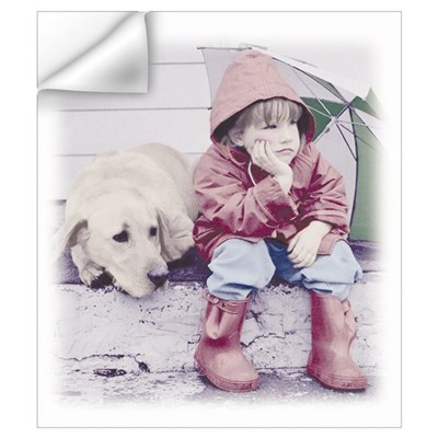 A girl and her dog. Wall Decal