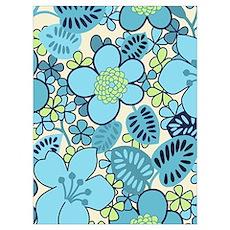 Blue Hippie Flower Art Poster