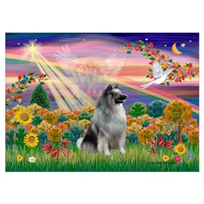 Autumn Angel/Keeshond Poster