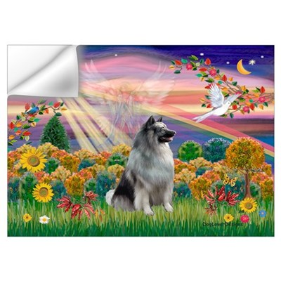 Autumn Angel/Keeshond Wall Decal