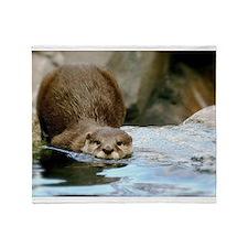 River Otter (Gone Fishin') Throw Blanket