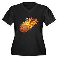 Flaming BasketBall Women's Plus Size V-Neck Dark T
