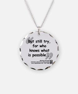 Faraday Try Quote Necklace Circle Charm