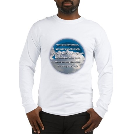 """Leonardo Da Vinci Quote"" Long Sleeve T-Shirt"
