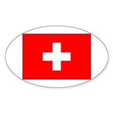 Swiss Flag for Swiss Pride Oval Decal