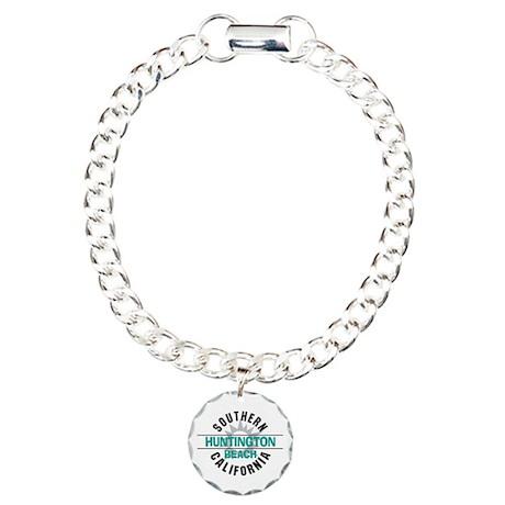 Huntington Beach California Charm Bracelet, One Ch
