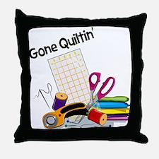Gone Quiltin' Throw Pillow