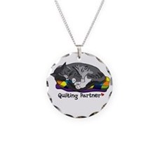 Quilting Partner Necklace Circle Charm