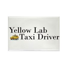 Yellow Lab Taxi Rectangle Magnet