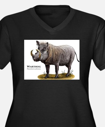 Warthog Women's Plus Size V-Neck Dark T-Shirt