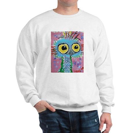Ostrich In Blue Sweatshirt