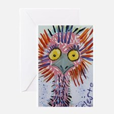 Ostrich In Pink Greeting Card