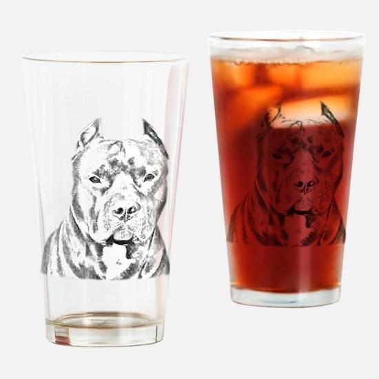 Pit Bull Head Drinking Glass