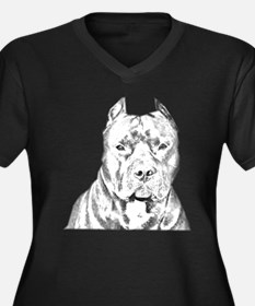 Pit Bull Head Women's Plus Size V-Neck Dark T-Shir