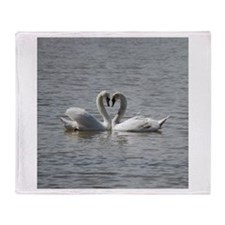 Swans in Love Throw Blanket
