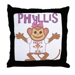 Little Monkey Phyllis Throw Pillow