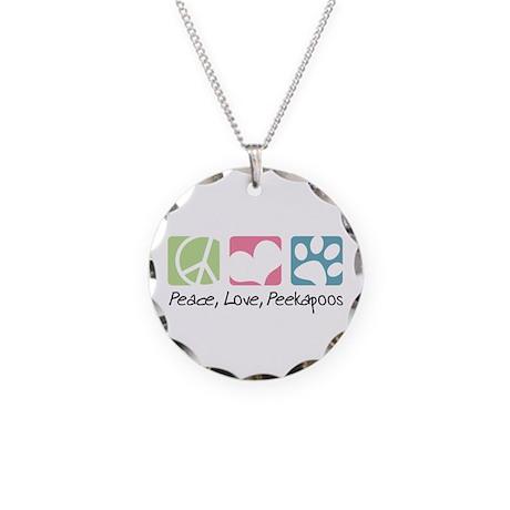 Peace, Love, Peekapoos Necklace Circle Charm