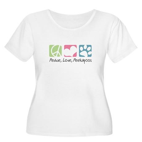 Peace, Love, Peekapoos Women's Plus Size Scoop Nec