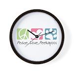 Peace, Love, Peekapoos Wall Clock