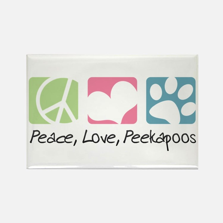 Peace, Love, Peekapoos Rectangle Magnet