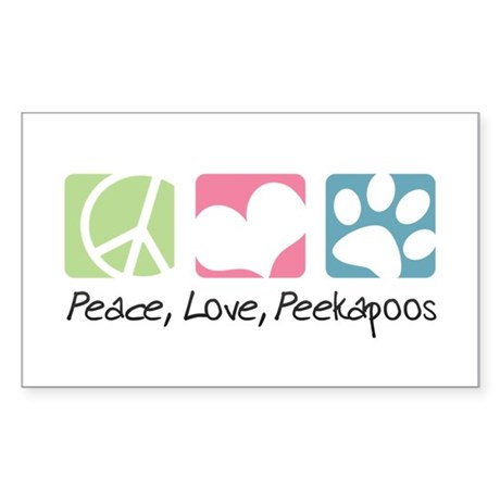 Peace, Love, Peekapoos Sticker (Rectangle)
