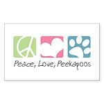 Peace, Love, Peekapoos Sticker (Rectangle 50 pk)