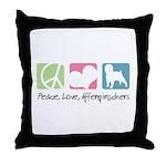Peace, Love, Affenpinschers Throw Pillow