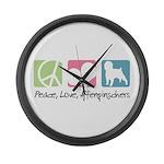 Peace, Love, Affenpinschers Large Wall Clock