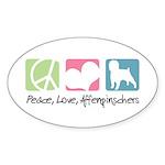 Peace, Love, Affenpinschers Sticker (Oval 50 pk)