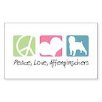 Peace, Love, Affenpinschers Sticker (Rectangle 50