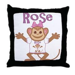Little Monkey Rose Throw Pillow