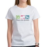 Peace, Love, Airedales Women's T-Shirt