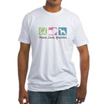 Peace, Love, Airedales Fitted T-Shirt
