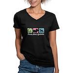 Peace, Love, Airedales Women's V-Neck Dark T-Shirt